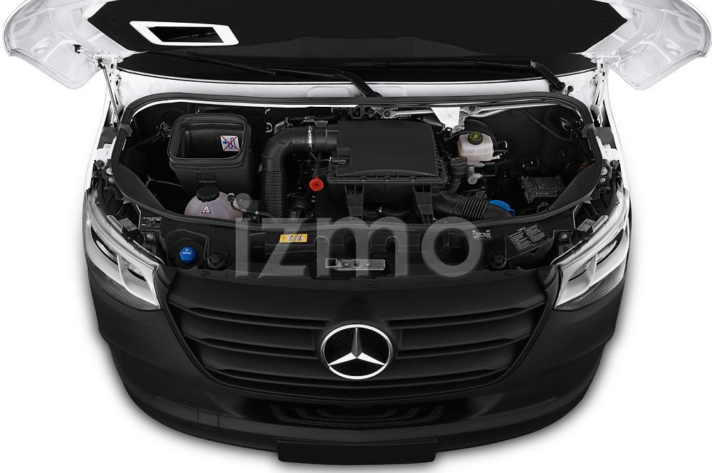 Car Stock 2019 Mercedes Benz Sprinter - 2 Door Cargo Van Engine  high angle detail view