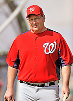 20 February 2011: Washington Nationals' Spring Instructor Trent Jewett watches drills during Spring Training at the Carl Barger Baseball Complex in Viera, Florida. Mandatory Credit: Ed Wolfstein Photo