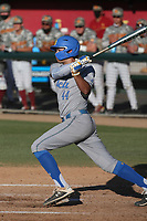 Kyle Karros (44) of the UCLA Bruins bats during a game against the USC Trojans at Dedeaux Field on March 28, 2021 in Los Angeles, California. UCLA defeated USC, 13-1. (Larry Goren/Four Seam Images)