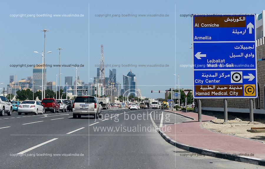 QATAR, Doha, road to East Bay/ KATAR, Doha, Strasse zur East Bay mit Wolkenkratzern