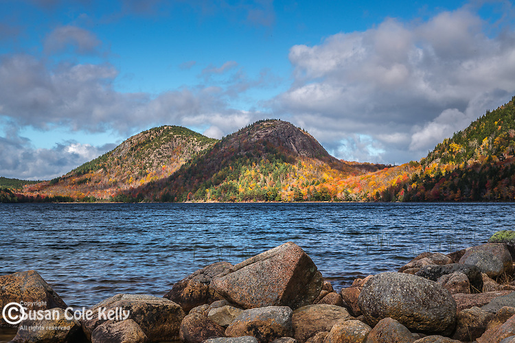 Fall foliage on the Bubbles at Jordan Pond in Acadia National Park, Maine, USA