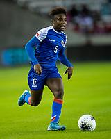HOUSTON, TX - JANUARY 31: Melchie Dumonay #6 of Haiti during a game between Haiti and Costa Rica at BBVA Stadium on January 31, 2020 in Houston, Texas.