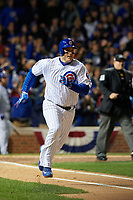 Chicago Cubs Anthony Rizzo (44) rounds first base after hitting a double in the fourth inning during Game 5 of the Major League Baseball World Series against the Cleveland Indians on October 30, 2016 at Wrigley Field in Chicago, Illinois.  (Mike Janes/Four Seam Images)