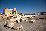 A landscape view of the  Temple of Bel, the largest of the ruins on the site.