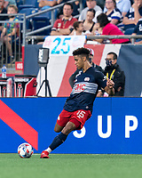 FOXBOROUGH, MA - AUGUST 8: Brando Bye #15 of New England Revolution passes the ball during a game between Philadelphia Union and New England Revolution at Gillette Stadium on August 8, 2021 in Foxborough, Massachusetts.