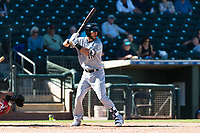 Peoria Javelinas first baseman Weston Wilson (18), of the Milwaukee Brewers organization, at bat during an Arizona Fall League game against the Surprise Saguaros at Surprise Stadium on October 17, 2018 in Surprise, Arizona. (Zachary Lucy/Four Seam Images)