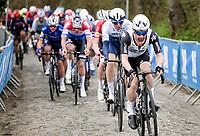 Victor Campenaerts (BEL/Qhubeka ASSOS) setting the tempo up the Oude Kwaremont<br /> <br /> 105th Ronde van Vlaanderen 2021 (MEN1.UWT)<br /> <br /> 1 day race from Antwerp to Oudenaarde (BEL/264km) <br /> <br /> ©kramon