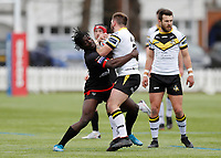 28th March 2021; Rosslyn Park, London, England; Betfred Challenge Cup, Rugby League, London Broncos versus York City Knights; Gideon Boafo of London Broncos tackles Jason Bass of York City Knights