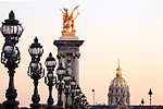 The view of golden dome of Hotel les Invalides from Alexandre III bridge. Paris. city of Paris. France