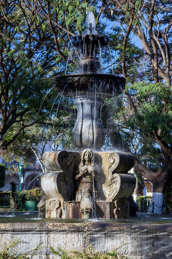 Antigua, Guatemala.  Plaza Fountain, inspired by Italian Renaissance.