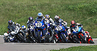 Jason Disalvo (#40) leads the pack at the start of the Sunday Daytona Sportbike race during the Tornado Nationals at Heartland Park Topeka, in Topeka, Kansas, August 2, 2009. (Photo by Brian Cleary/www.bcpix.com)