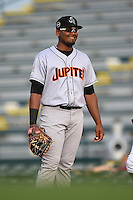 Jupiter Hammerheads first baseman Felix Munoz (24) during a game against the Bradenton Marauders on April 17, 2015 at McKechnie Field in Bradenton, Florida.  Bradenton defeated Jupiter 11-6.  (Mike Janes/Four Seam Images)