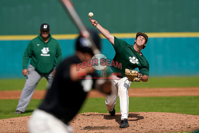 Jake Cubbler (48) of the University of South Carolina Upstate Spartans Green team delivers a pitch in the Green and Black Fall World Series Game 2 on Saturday, October 31, 2020, at Cleveland S. Harley Park in Spartanburg, South Carolina. Green won, 6-5. (Tom Priddy/Four Seam Images)