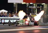 Jun 19, 2015; Bristol, TN, USA; NHRA top fuel driver Terry McMillen during qualifying for the Thunder Valley Nationals at Bristol Dragway. Mandatory Credit: Mark J. Rebilas-
