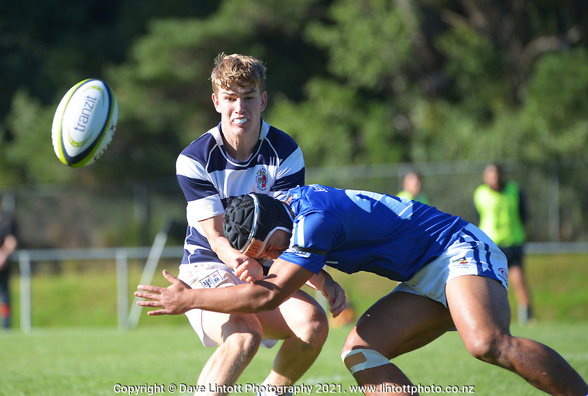 Action from the Tranzit Coachlines 1st XV tournament rugby match between St Patrick's College Town and Palmerston North Boys' High School at Porirua Park in Wellington, New Zealand on Saturday, 15 May 2021. Photo: Dave Lintott / lintottphoto.co.nz