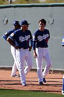 Julio Urias (left), Kenta Maeda (right) - Los Angeles Dodgers 2016 spring training (Bill Mitchell)
