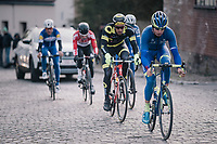 Alex Kirsch (LUX/WB Aqua Protect-Veranclassic) leading the race<br /> <br /> 50th GP Samyn 2018<br /> Quaregnon > Dour: 200km (BELGIUM)