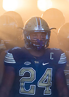 Pitt running back James Conner gets ready to take the field. The Pitt Panthers defeated the Villanova Wildcats 28-7 at Heinz Field, Pittsburgh, Pennsylvania on September 3, 2016.