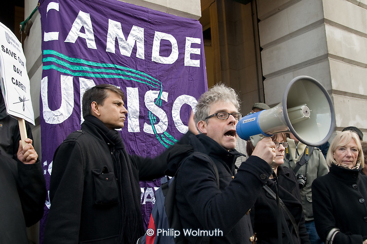 George Binette, Camden Unison branch Secretary, addresses users of Age Concern Camden's three resource centres at a demonstration outside Camden Town Hall following  the council's decision to cut funding and close them down.