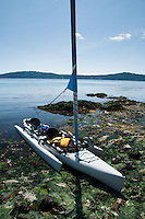 Hobie Sailing Kayak Beached at Yellow Island, San Juan Islands, Washington, US