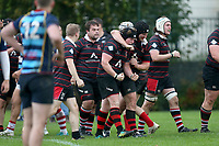 Campion celebrate their fourth try during Campion RFC vs Old Cooperians RFC, London 3 Essex Division Rugby Union at Cottons Park on 16th October 2021