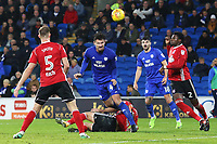 Sean Morrison of Cardiff City heads the ball towards goal during a free kick in the Sky Bet Championship match between Cardiff City and Ipswich Town at The Cardiff City Stadium, Cardiff, Wales, UK. Tuesday 31 October 2017