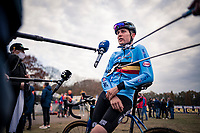 Socially distanced interviews for Toon Aerts (BEL/Telenet-Baloise Lions) post-race<br /> <br /> UEC Cyclocross European Championships 2020 - 's-Hertogenbosch (NED)<br /> <br /> Elite MEN<br /> <br /> ©kramon