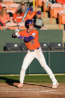 Designated hitter Davis Sharpe (30) of the Clemson Tigers bats against the Stony Brook Seawolves on Friday, February 21, 2020, at Doug Kingsmore Stadium in Clemson, South Carolina. Clemson won, 2-0. (Tom Priddy/Four Seam Images)