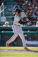 San Jose Giants designated hitter Gio Brusa (26) at bat during a California League game against the Modesto Nuts at John Thurman Field on May 9, 2018 in Modesto, California. San Jose defeated Modesto 9-5. (Zachary Lucy/Four Seam Images)