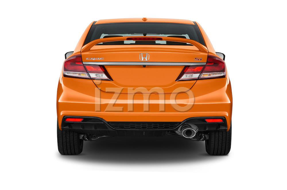 Straight rear view of a 2015 Honda Civic Si 4 Door Sedan stock images