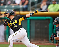 Tony Sanchez (27) of the Salt Lake Bees swings while at bat against the El Paso Chihuahuas in Pacific Coast League action at Smith's Ballpark on April 30, 2017 in Salt Lake City, Utah. El Paso defeated Salt Lake 12-3. This was Game 2 of a double-header originally scheduled on April 28, 2017. (Stephen Smith/Four Seam Images)