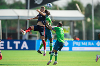 LAKE BUENA VISTA, FL - JULY 14: Fabian Herbers #21 of the Chicago Fire heads the ball during a game between Seattle Sounders FC and Chicago Fire at Wide World of Sports on July 14, 2020 in Lake Buena Vista, Florida.