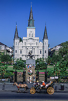 French Quarter, New Orleans, Louisiana.  St. Louis Basilica and Statue of Andrew Jackson, Jackson Square.