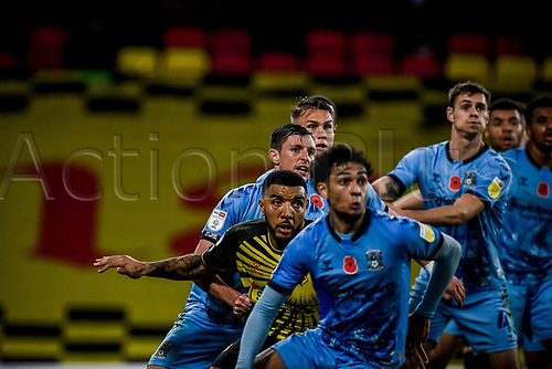 7th November 2020; Vicarage Road, Watford, Hertfordshire, England; English Football League Championship Football, Watford versus Coventry City; Troy Deeney is outnumbered in the Coventry City penalty area.