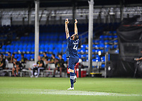 LAKE BUENA VISTA, FL - AUGUST 01: Maxime Chanot #4 of New York City FC reaches to the sky during a game between Portland Timbers and New York City FC at ESPN Wide World of Sports on August 01, 2020 in Lake Buena Vista, Florida.