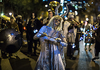 NEW YORK, NY - OCTOBER 31,2016. People dressed in Halloween costume, take part in Halloween celebrations held within 43rd annual Village Halloween parade in New York October 31, 2016 Photo by VIEWpress/Maite H. Mateo.