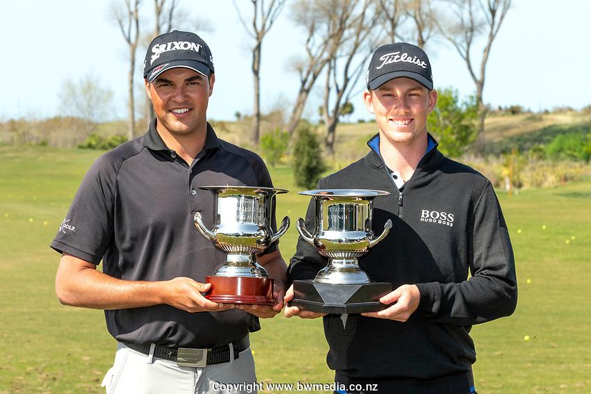 Mako Thompson and Daniel Hillier during the Jennian Homes Charles Tour Pegasus Open, Pegasus Golf Club, Christchurch, 4 October 2020. Photo: Martin Hunter/www.bwmedia.co.nz