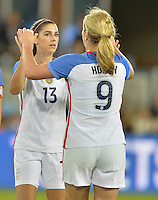 San Jose, CA - November 10, 2016: The U.S. Women's National team go up 7-1 over Romania with Alex Morgan contributing two goals during an international friendly game at Avaya Stadium.