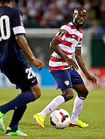 PORTLAND, Ore. - July 9, 2013: DaMarcus Beasley defends against Belize. The US Men's National team plays the National team of Belize during the 2013 Gold Cup at at JELD-WEN Field.