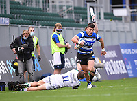 21st November 2020; Recreation Ground, Bath, Somerset, England; English Premiership Rugby, Bath versus Newcastle Falcons; Cameron Redpath of Bath is tackled into touch by Ben Stevenson of Newcastle Falcons