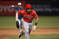 AZL Angels center fielder Jordyn Adams (21) hustles towards third base during an Arizona League game against the AZL Padres 2 at Tempe Diablo Stadium on July 18, 2018 in Tempe, Arizona. The AZL Padres 2 defeated the AZL Angels 8-1. (Zachary Lucy/Four Seam Images)