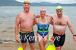 Just out of the water after their swim from Derrymore to Fenit on Saturday morning. L to r:  Ger Kennedy, Karen Deenihan and Kevin Dennehy