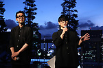 """August 5, 2019, Tokyo, Japan - Ichiro Yamaguchi, a member of a rock band Sakanaction and DJ Setsuya Kurotaki attend an opening event of an installation """"Roof Top Orchestra"""" at the Ginza Six shopping mall in Tokyo as they produced it on Monday, August 5, 2019. Roof Top Orchestra, a sound and light installation at the rooftop garden on the 13 story Ginza Six building, will be carried through October 31.   (Photo by Yoshio Tsunoda/AFLO)"""
