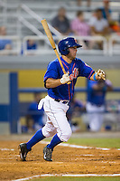 Kevin Kaczmarski (36) of the Kingsport Mets follows through on his swing against the Elizabethton Twins at Hunter Wright Stadium on July 8, 2015 in Kingsport, Tennessee.  The Mets defeated the Twins 8-2. (Brian Westerholt/Four Seam Images)