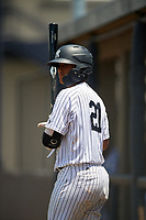 GCL Yankees West catcher Hemmanuel Rosario (21) on deck during a game against the GCL Yankees East on August 8, 2018 at Yankee Complex in Tampa, Florida.  GCL Yankees West defeated GCL Yankees East 8-4.  (Mike Janes/Four Seam Images)