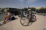 FDJ-BigMat Team Lapierre bikes lined up before the start of the 3rd Stage of the 2012 Tour of Qatar running 146.5km from Dukhan Souq, Dukhan to Al Gharafa, Qatar. 7th February 2012.<br /> (Photo Eoin Clarke/Newsfile)