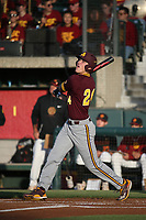 Hunter Bishop (24) of the Arizona Sun Devils bats against the Southern California Trojans at Dedeaux Field on March 24, 2017 in Los Angeles, California. Southern California defeated Arizona State, 5-4. (Larry Goren/Four Seam Images)