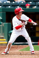 Ryan Jackson (23) of the Springfield Cardinals prepares to bunt during a game against the Arkansas Travelers on May 10, 2011 at Hammons Field in Springfield, Missouri.  Photo By David Welker/Four Seam Images.