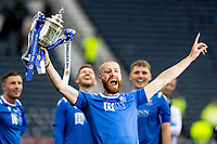 22nd May 2021; Hampden Park, Glasgow, Scotland; Scottish Cup Football Final, St Johnstone versus Hibernian Shaun Rooney of St Johnstone lifts the Scottish cup  after winning the final by the score of 1-0