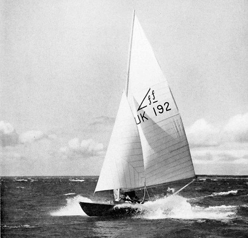 Coweslip when new, at speed under her original cotton sails. She is now in the National Maritime Museum in Falmouth.